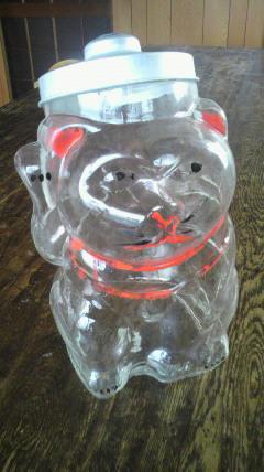 招き猫型ガラス瓶♪